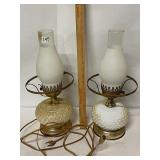 pair hobnail milk glass lamps- looks like they