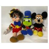 Disney plush Pinocchio, Jiminy Cricket, and