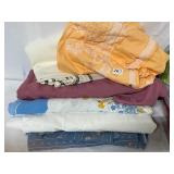 misc linens- tableclothes, shower curtain,