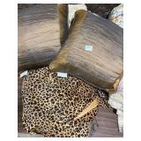 leopard print bed skirt and 2 throw pillows