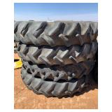 SET OF 4- 380/90R50 REAR TRACTOR TIRES AND WHEELS