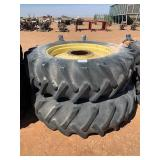 2- 18.4X38 TIRES AND WHEELS