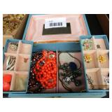 Jewelry Box, Clip-On Earrings, Necklaces