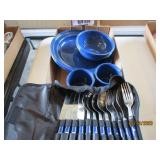 4 Place Enamelware Set with Utensils