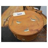 Wood Cheese Box with Hand Painted Geese