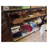 Shelving Unit and 4 Shelves of Contents