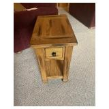 Oak end table with sliding top