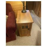 Oak end table with storage and sliding top