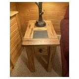 Oak end table with drawer and tile inlay