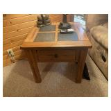 Oak end table with drawer & tile inlay