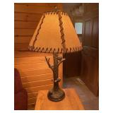 """Cast resin pinecone lamp with shade 28"""" tall"""