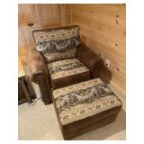 Oversized chair and ottoman with northwoods print
