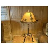 """Wrought iron lamp with northwoods shade 24"""" tall"""