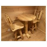 """Pine pub table & 2 chairs 30"""" round x 42"""" tall"""