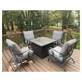 Fire table with 4 cushioned rocker chairs 40x40