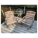 Corner style glider deck chair with table (1-unit)