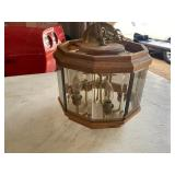 """Wood and cut glass hanging light 12"""" x 10"""" tall"""