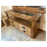 Oak hutch with tile inlay & drawers