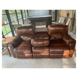 Leather couch with 2 recliners, massage & heat