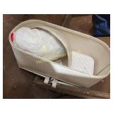 Collapsible White Wicker Bassinet