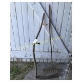 Primitive Wooden Rake and Sickle