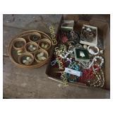 Tray of Costume Jewelry & Coaster Set