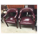Pr Modern Leather Upholstered Arm Chairs