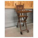 Oak Fold-Down High Chair