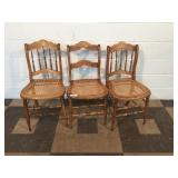 3 Cane Seat Side Chairs