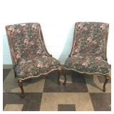 Pair of Mahogany Floral Upholstered Chairs