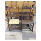 Late 19th Century Rush Seat Ladderback Chair &