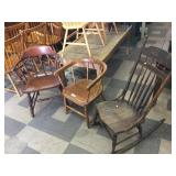 2 Barrel-Back Chairs & Oak Rocker