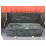 Late 19th Cen. Kindling Box Bench with Lift Lid