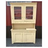 Primitive Painted Country Cupboard-Top Dry Sink