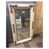 Framed Beveled-Edge Mirror with Gilt Decoration
