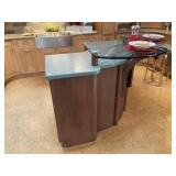 Kitchen Island with Raised Glass Bar Top