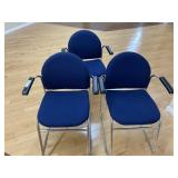 (3) Chrome & Upholstered Arm Chairs