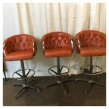 (3) Leather Upholstered Bar Stools