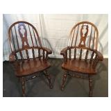 (2) Oak Arm Chairs
