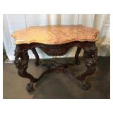 Very Ornate Carved Victorian Marble Top Table