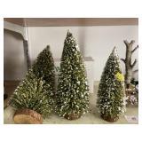 (3) Christmas Trees & Dept. 56 Birch Tree Cluster