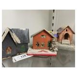 (3) Vintage Painted Cardboard Christmas Houses