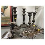 Silver Over Copper Candlesticks & Tray