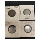 (4) Shield Nickels