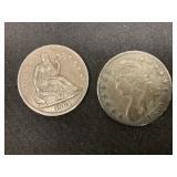 1830 & 1864 Halves Bust & S.L.