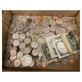 Lot of US & Foreign Coins, Some Silver & Currency