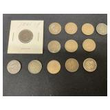 13 Semi Key Indian Head Pennies