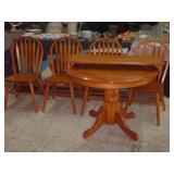 OAK TABLE & 4 CHAIRS-1 LEAF