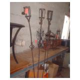 WROUGHT IRON TIKI TORCH HOLDERS