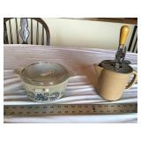 Stoneware beater pitcher and Pyrex dish
